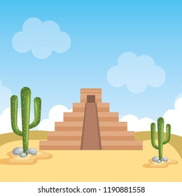 desert with mayan culture pyramid scene