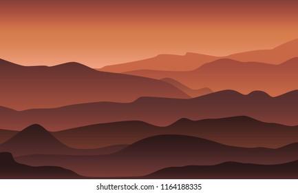 Desert mountain landscape in sunset/sunrise light and fog. Morning /evening in the mountains illustration. Vector  EPS 10