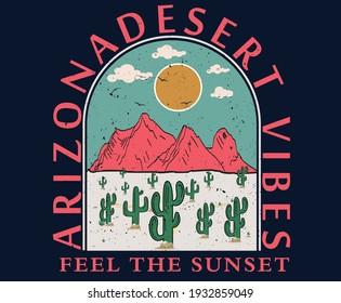 Desert mountain with sunrise vector artwork