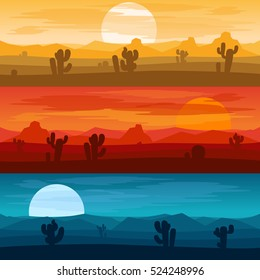 Desert mountains banners. Desert landscape days and desert at night vector backgrounds illustration