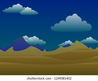 desert nature vector with sky ,Vector cartoon illustration of a yellow summer landscape - Glade in a desert. Nature landscape 2d vector background - A high quality horizontal background of landscape