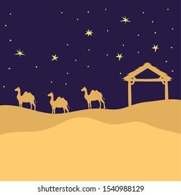 desert night with camels landscape scene icon vector illustration design