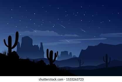 desert night sky with falling stars