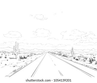 Desert of North America Arizona. Chihuahuan. Hand drawn sketch vector illustration.
