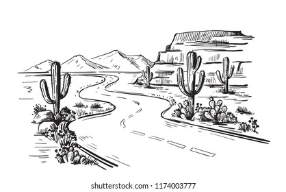 Desert North America Arizona. Hand drawn vector