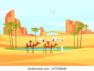 Desert Oasis Camels Composition