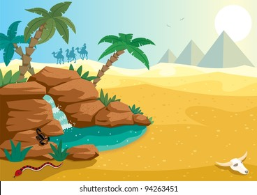 Desert Oasis: Cartoon illustration of small oasis in the Sahara desert. A4 proportions. No transparency used. Basic (linear) gradients.