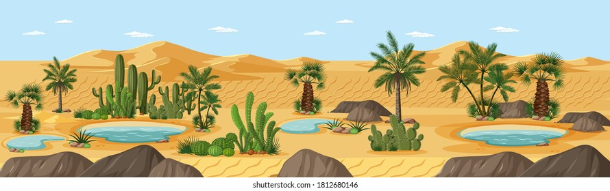Desert oasis with palms nature landscape scene illustration