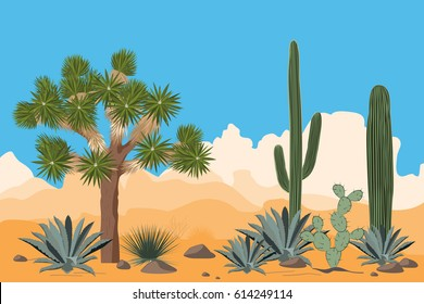 Desert pattern with joshua trees, opuntia, agave, and saguaro cacti. Mountains background.