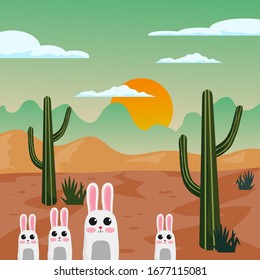Desert, rabit and cactus. Sunset on a background of a mountain landscape. Vector game graphic.