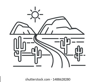 Desert road or highway and hills, Texas landscape outline sketch vector. Mexican prairie, cacti and sand, freeway and mountains, dry ground. Empty valley with route, nature lineart drawing, journey