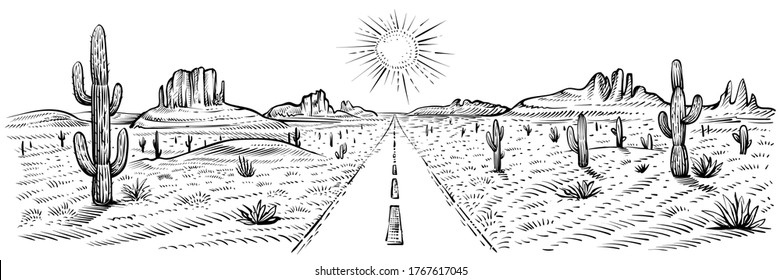 Desert road panorama landscape, vector illustration. Black and white sketch of American desert with cactus and sand rocks. USA journey. Arizona roadway , line art.