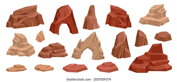 Desert rock cartoon vector set, stone canyon landscape illustration, red Mexico arch boulder dry cliff. Game nature environment design element, brown drought cracked mountain. Western land desert rock