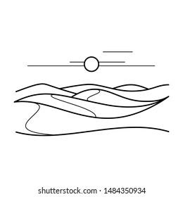 Desert sand dunes vector line icon