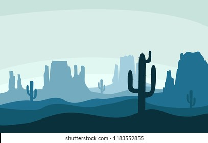 Desert sand landscape with mountains and cactus silhouette on the wild west texas blue color in flat cartoon style vector