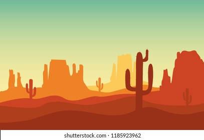 Desert sand landscape with mountains and cactus silhouette on the wild west texas in flat cartoon style vector illustration