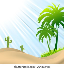 Desert scene with palm tree,cactus, sand dunes