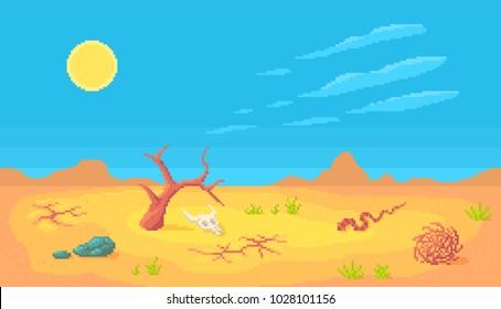 Desert scene in pixel art style. Vector illustration.