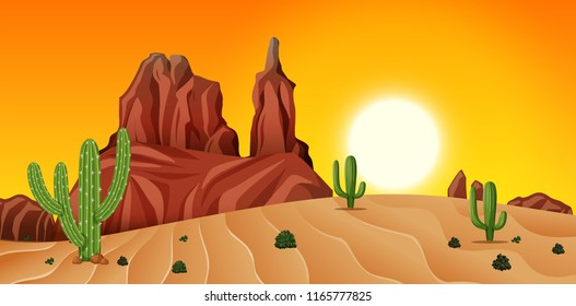 Desert scene at sunset illustration