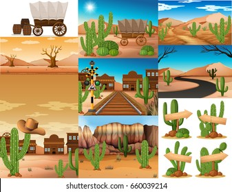 Desert scenes with cactus and buildings illustration