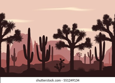 Desert seamless pattern with joshua trees, opuntia, and saguaro cacti. Mountains background.