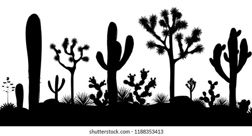 Desert seamless pattern with silhouettes of joshua trees, opuntia, and saguaro cacti.
