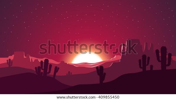 Desert at sunset illustration