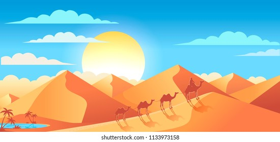 Desert sunset landscapes vector illustration with camels and oasis