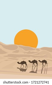 Desert sunset, silhouette of camels on a background of the sun. Vector illustration of caravan in a desert. Rajasthan travel background n dunes of Thar desert on sunset. Jaisalmer, Rajasthan, India