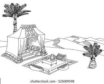 Desert tent graphic black white landscape sketch illustration vector