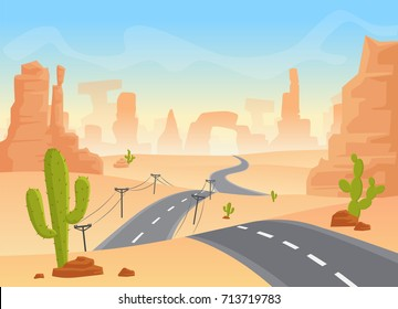 Desert texas landscape. Vector cartoon desert with road, cactuses and rock mountains.