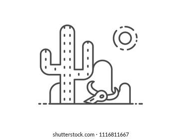 Desert vector illustration outline style