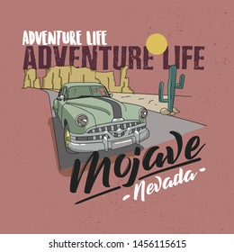 Desert vibes and cactus with slogan western road tripper. t-shirt design, print, typography, label with styled saguaro cactus and rocks. Adventure Life Mojave Nevada.