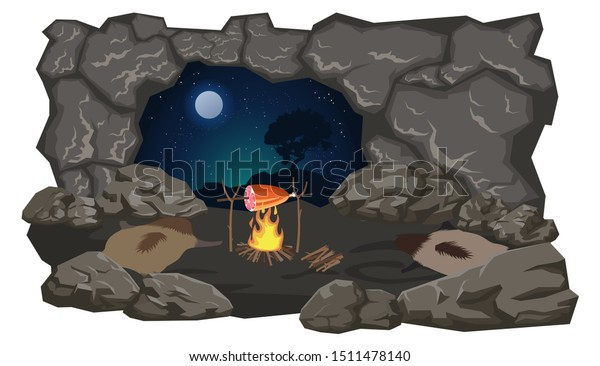 A deserted cave of primitive people. Vector stock illustration, flat design style. Isolated on a white background.