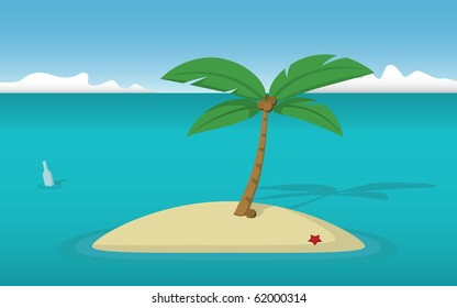 A deserted island with a lonely coconut tree and a bottle with a message floating by.