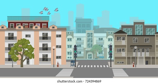 A deserted street of the city. Vector illustration, a flat style design.