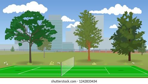 Deserted tennis court.