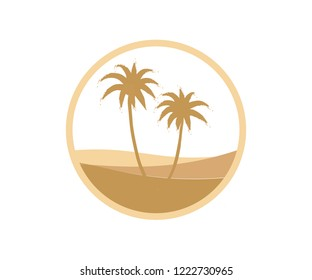 A desert/oasis logo. The design looks warm with two palm/date trees, sand dunes with golden brown colors. It can be implemented as a logo of various businesses.