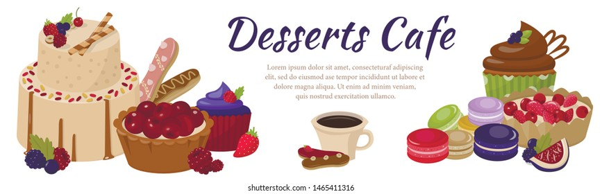 Deserts Cafe Lettering Banner Offer Sweet Snack. Cartoon Cakes, Muffins, Cupcakes, Fruit Pies and Sugary Baskets, Macaroons, Biscuits Assortment. Bakery Shop Online Advert. Vector Flat Illustration
