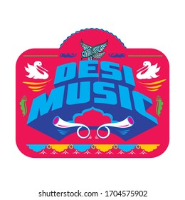 Desi means pure in english. Desi Music decorative typography.