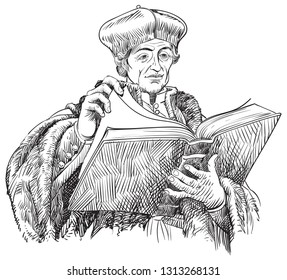 Desiderius Erasmus (1469-1536) portrait in line art illustration. He was a Dutch humanist who was the greatest scholar of the northern Renaissance, the first editor of the New Testament.