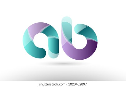 Design of 3D alphabet letter ab a b logo combination with green glossy purple pastel color suitable as an icon for a company or business
