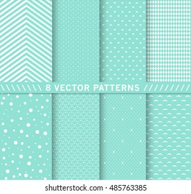 Design 8 Chic different vector patterns. Pink color. Texture can be used for printing onto fabric and paper or scrap booking. EPS vector background.