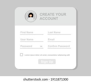design about the registration form illustration