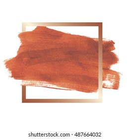 design abstract banner, flyers, leaflets, invitation strokes of copper color paint and frame