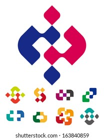 """Design abstract logo vector template.  """"c"""", """"p"""", """"b"""",  """"d"""", """"s"""" letters icon set. You can use in the commerce,  medical, financial, and communication concept of pattern."""