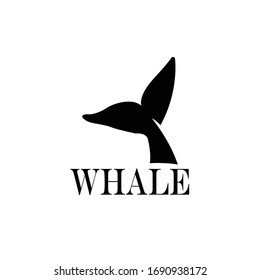 design with abstract symbol of whale tail and sea wave. whale tail icon