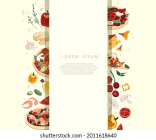 Design of ad banner for pizzeria with salami,tomato pizza with olives ingredient on background.Broadsheet Poster Promo template for Italian food restaurant or cafe.Vector illustration of advertisement
