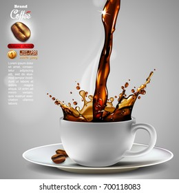 Design advertising coffee  and a light trickle steam. High detailed realistic illustration