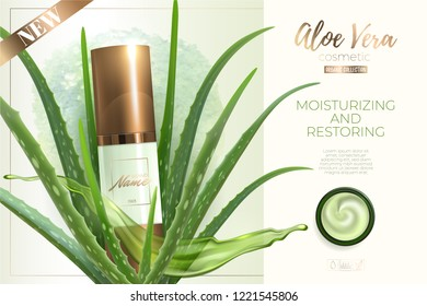 Design advertising poster for cosmetic product for catalog, magazine.Design of cosmetic package.Moisturizing cream, gel, body lotion with aloe vera extract . Vector illustration with isolated